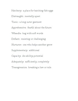 The Giver Chapter 1 Vocabulary List
