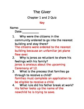 The Giver Chapter 1 and 2 Quiz