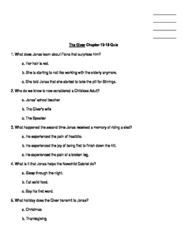The Giver Chapter 13-18 Quiz
