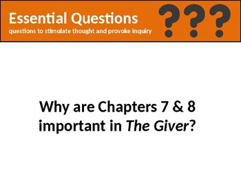 The Giver: Chapter 7 & 8 Popsicle Stick Discussion