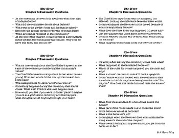 The Giver- Chapter Discussion Questions