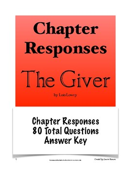 The Giver - Chapter Responses; Secondary Language Arts