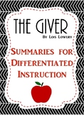 The Giver: Differentiated Instruction - Chapter Summaries