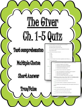 The Giver Chapters 1-5 Quiz