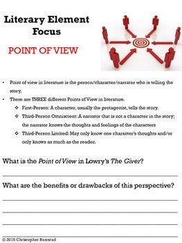 The Giver Chapters 1 to 3 Annotation and Activity Packet