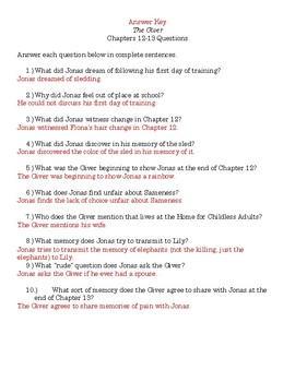 The Giver Chapters 12-13 Questions