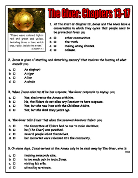 CHECK THIS! The Giver: Chapters 13-17 Quiz