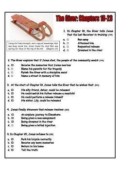 """DOES IT IN STYLE! """"The Giver"""": Chapters 18-23 Quiz"""