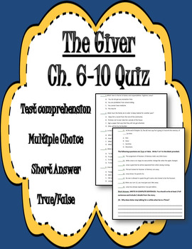 The Giver Chapters 6-10 Quiz