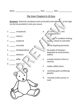 Lois Lowry's The Giver Chapters 6-10 Review/Quiz and Presentation