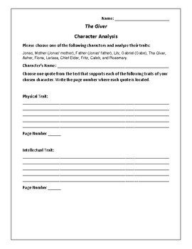 The Giver Character Analysis Activity - Lois Lowry