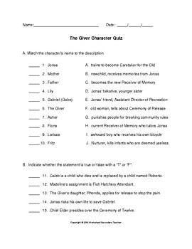 The Giver Character Quiz with Answer Key