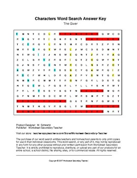 The Giver Characters Word Search (Grades 7-9) with Key