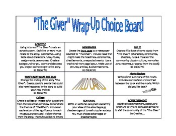 """""""The Giver"""" Choice Board"""