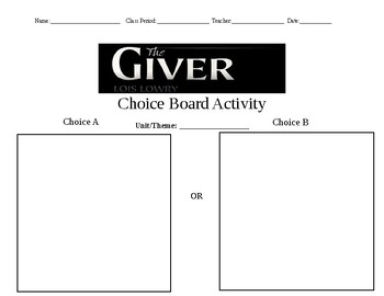 The Giver Choice Board