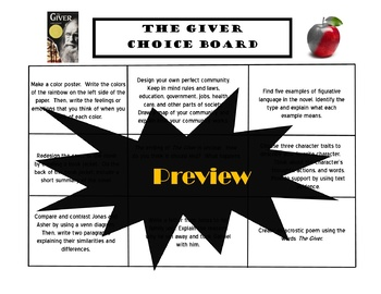 The Giver Choice Board Tic Tac Toe Novel Activities Menu Assessment Project