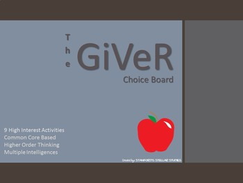 The Giver Choice Board Tic Tac Toe Novel Activities Assessment