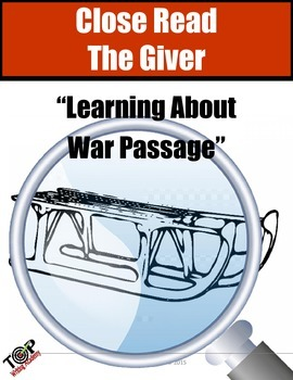 """The Giver Close Reading Exercise """"Learning about War"""""""