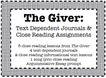 The Giver: Close Reads and Text-Dependent Journals