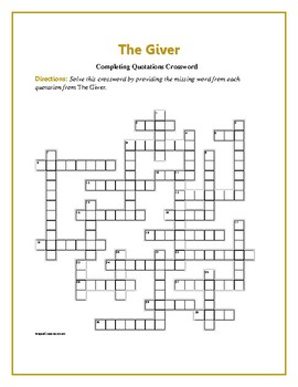 The Giver Completing Quotations Crossword Reinforces Theme Tpt