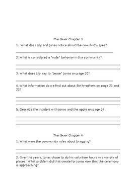 The Giver Comprehension Packet- All Chapters
