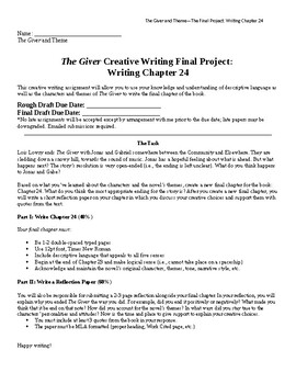 The Giver Creative Writing Final Project: Writing Chapter 24