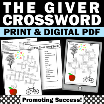 The Giver Novel Study Supplement, Vocabulary Crossword Puzzle