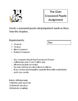 The Giver Crossword Puzzle Assignment