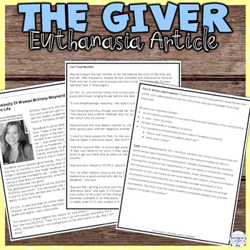 The Giver Nonfiction Article, Activity, Graphic Organizer and Essay