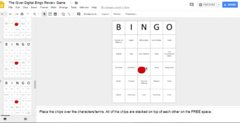 The Giver Digital Bingo Review Game (Google Drive Edition)