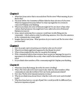 The Giver Discussion Questions Chapters 1-23