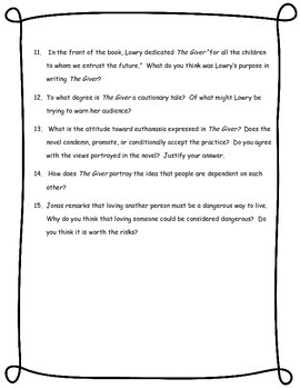 The Giver Discussion and Essay Questions