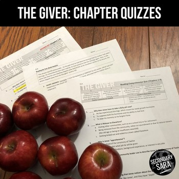 The Giver: Editable Chapter Quizzes for Reading Comprehension