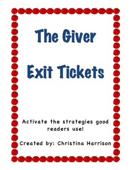 The Giver Exit Tickets Chapters 1-5