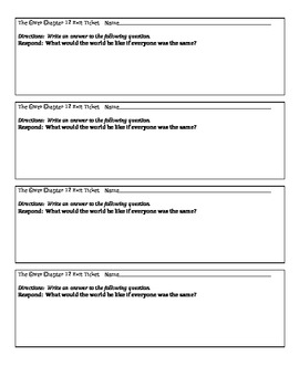 The Giver Exit Tickets Chapters 11-15