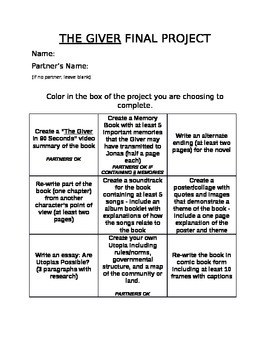 The Giver Choice Menu and Grading Sheets: 9 project options