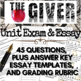 The Giver Novel Study: Final Test 45-Questions (Plus Bonus Essay Questions)