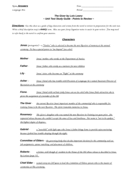 The Giver Final exam study guide & answers