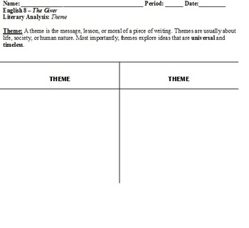 The Giver - Graphic Organizer for Theme