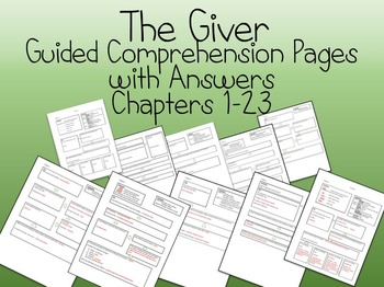 The Giver Guided Comprehension sheets chapters 1 to 23 wit