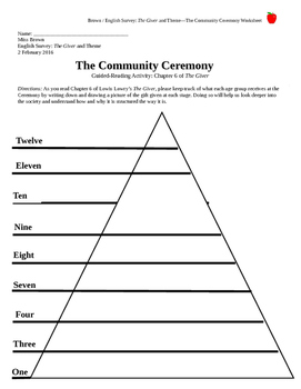 The Giver Guided Reading Graphic Organizer: The Community Ceremony