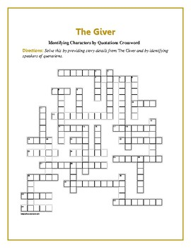 The Giver: ID'ing Characters by Quotations/Providing Story Details—Fun!