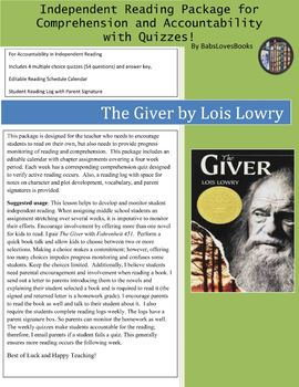 The Giver Independent Reading Package with Quizzes!