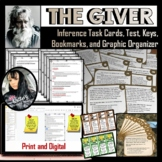 The Giver Inference Task Cards, Test, Graphic Organizer, a