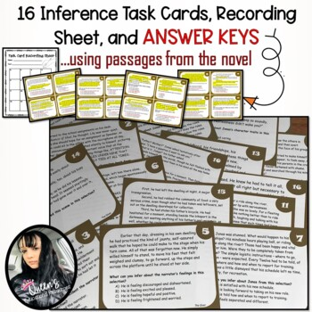The Giver Inference Task Cards, Test, Graphic Organizer, and Bookmarks