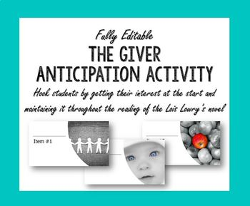 The Giver Introduction Activity Anticipation Box