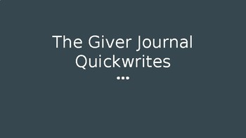 The Giver Journal Prompts
