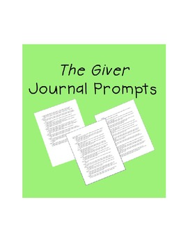 The Giver Journal Prompts by Chapter