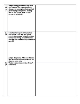 The Giver - L. Lowry - Abbreviated Close Reading & Comp. Questions-Ch. 4-5