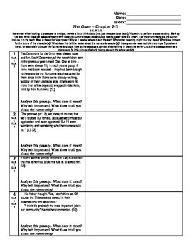 The Giver - L. Lowry - Abbreviated Close Reading & Comp. Questions-Ch.2-3